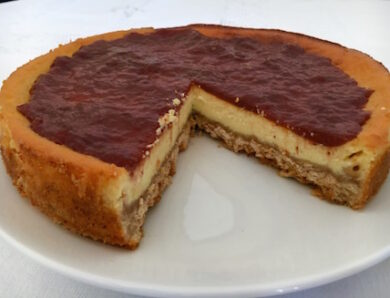 "Cheesecake ""Ubriaco"" with Cherries jelly in Passerina"