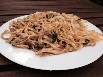 "Fava Bean Flour Pasta ""Tacconi"" with zucchini"